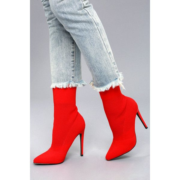 Steve Madden Century Red Mid-Calf Sock Booties ($129) ❤ liked on Polyvore  featuring shoes, boots, mid-calf boots, red, pointed toe leather boots, ...