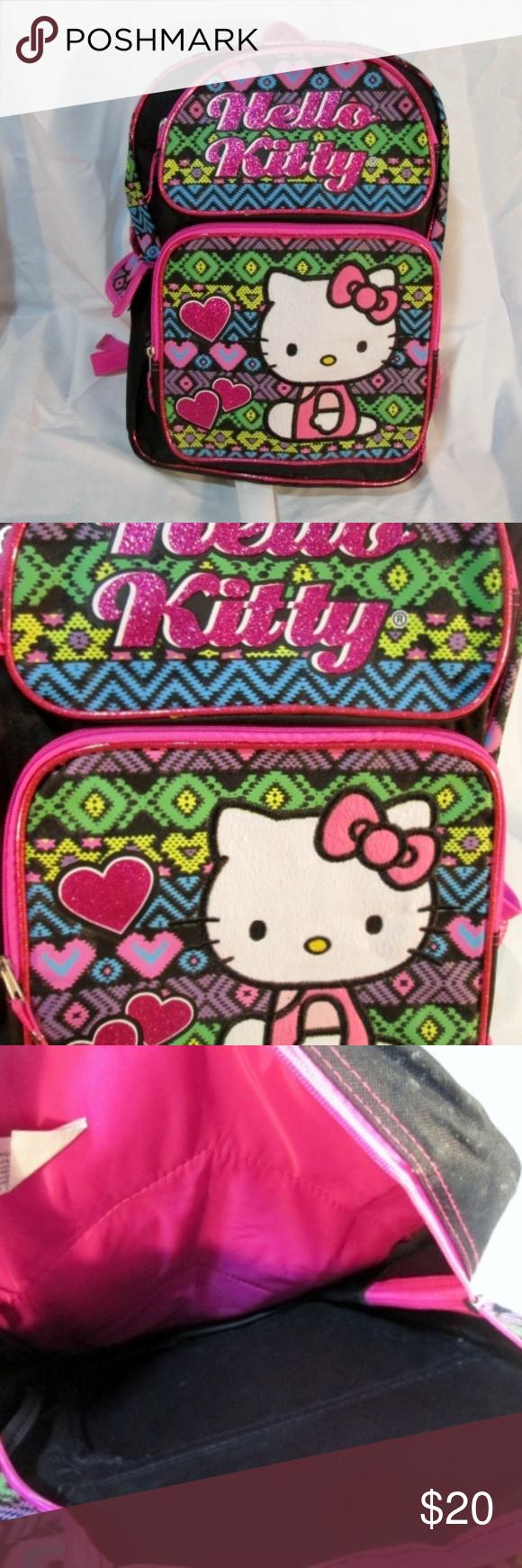 a92d1091d9 HELLO KITTY Glitter BACKPACK Shoulder Rucksack Bag Beautiful HELLO KITTY  backpack   rucksack   travel bag
