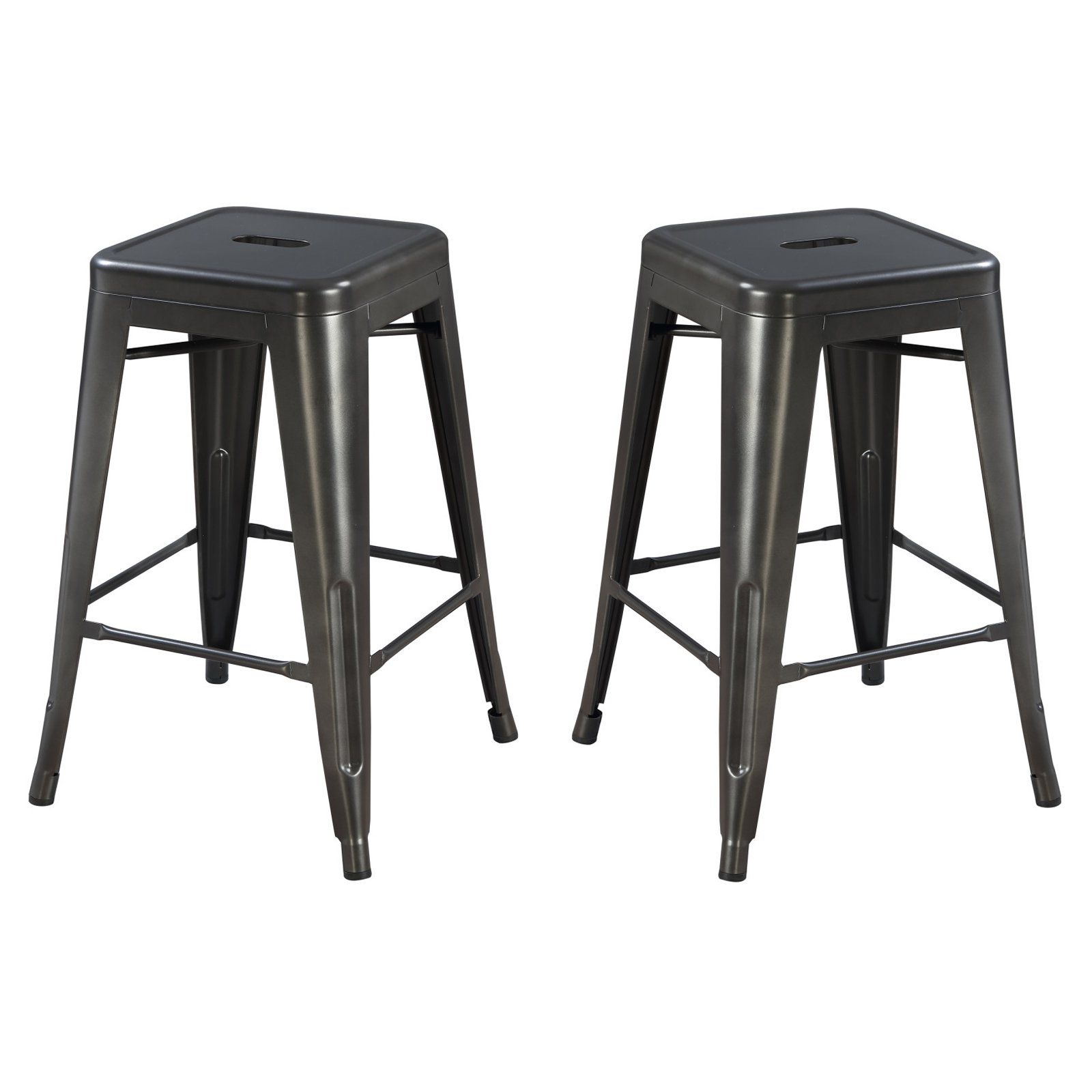 Emerald Home Dakota Ii 24 In Industrial Backless Counter Stool Set Of 2 Backless Bar Stools Metal Counter Stools Bar Stools