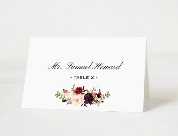 all purpose place cards template printable burgundy floral desert