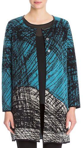 Nic+Zoe Plus Scribble Knit Long-Sleeve Jacket