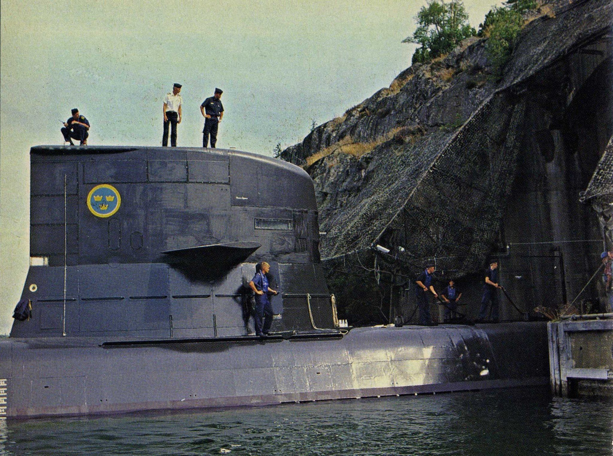 A Västergötland-class submarine heading into the Muskö underground ...