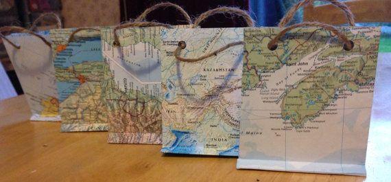 World Map Gift Bags.World Map Paper Gift Bag Small Bon Voyage Presentation Bag