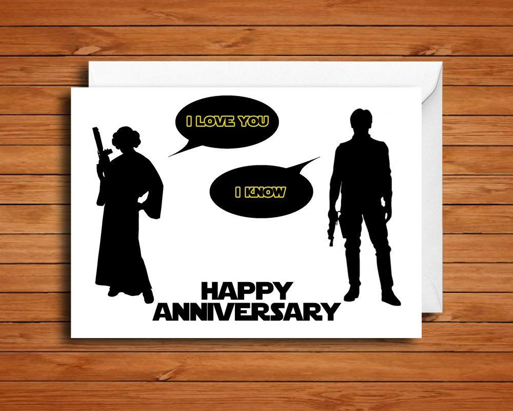 Star Wars Anniversary Card Star Wars Love Card Princess Leia And