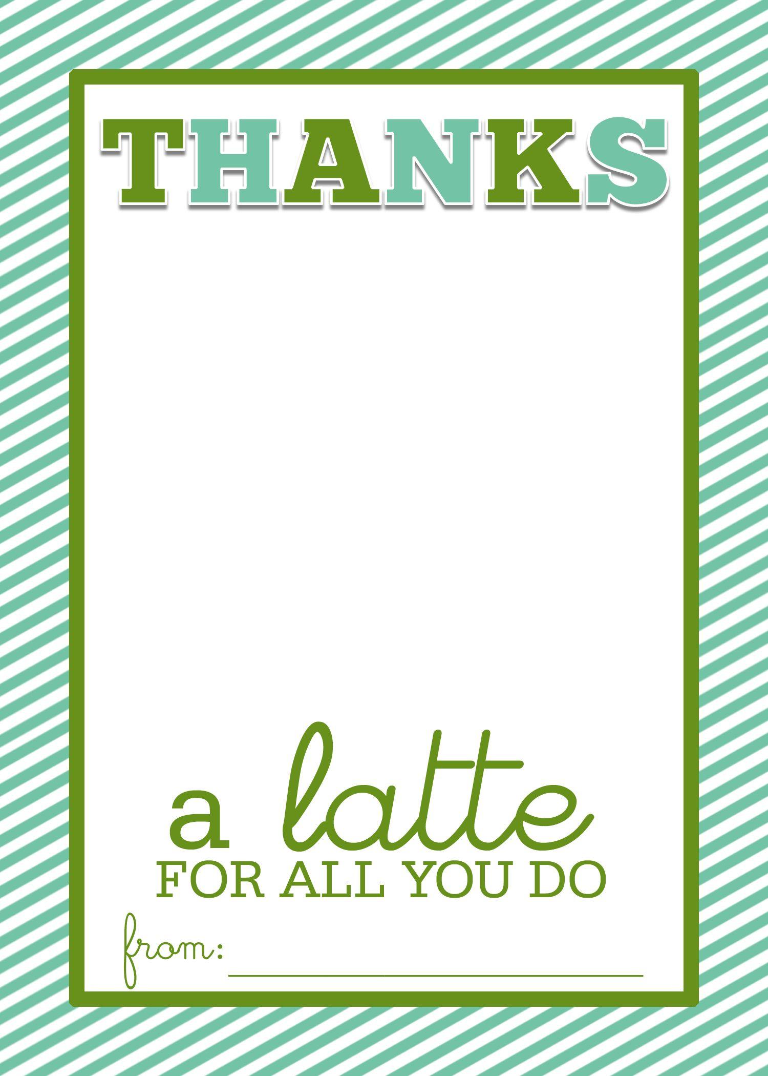 photo about Thanks a Latte Printable titled Straightforward Instructor Reward Craft \u201cThanks a Latte\u201d Starbucks Reward Card