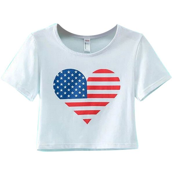 e2ac5153 Chicnova Fashion American Flag Print Cropped T-shirt ($9.40) ❤ liked on  Polyvore featuring tops, t-shirts, crop t shirt, round neck crop top, crop  tee, ...