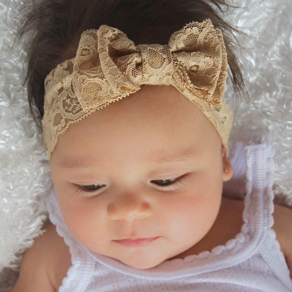 Infant Bow Headband, Lace Headband, Tan Headband, Baby Headband, Bow Headband, Newborn Headband, Hair Accessories