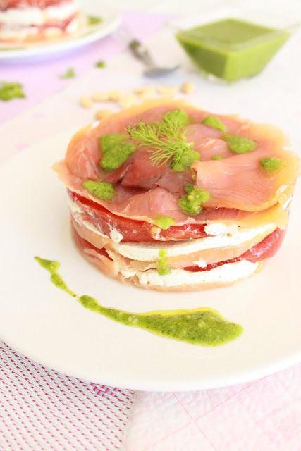 Recetas de Mon: Timbal de salmón con pesto de espinacas y cacahuet...