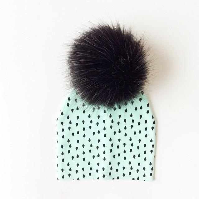 0ec594351f9 Baby Hat Artificial Fox Fur Baby Boy Cap Cotton Printing Pompom Bobble Hat  For Girls Winter
