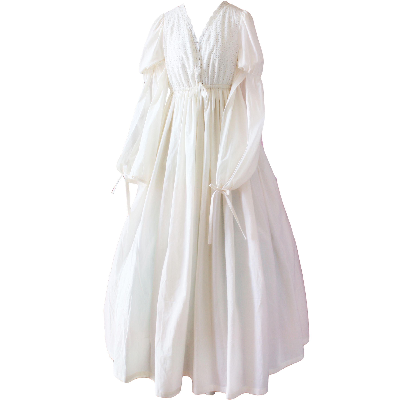 Vintage sexy nachtkleding vrouwen katoenen middeleeuwse nachtjapon