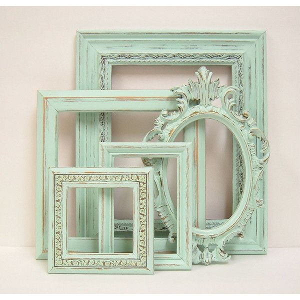 Shabby Chic Frames Pastel Mint Green Picture Frame Set Ornate ...
