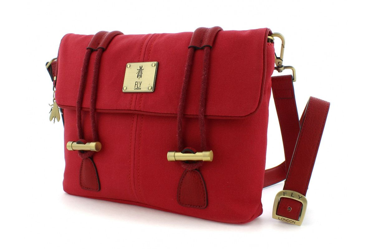 65bd2ef9b8 Fly London Dipi Red Canvas Satchel Shoulder Bag