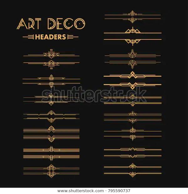 Set Art Deco Dividers Headers Creative Royalty Free Stock Image Art Deco Deco Art Deco Design