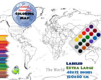 Coloring world map etsy places to go maps pinterest coloring world map etsy gumiabroncs Gallery