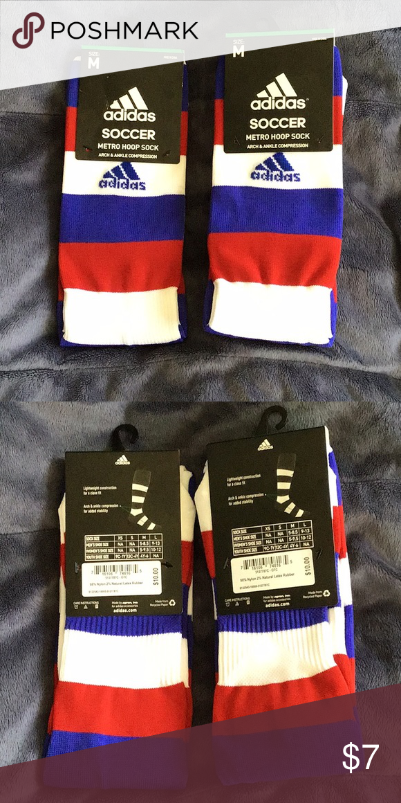 Adidas Soccer Sock. Arch and ankle compression. Red White and Blue Men s  size 5-8.5 Women s size 5-9.5 Youth 4-6 adidas Underwear   Socks Athletic  Socks 6f00af9e83