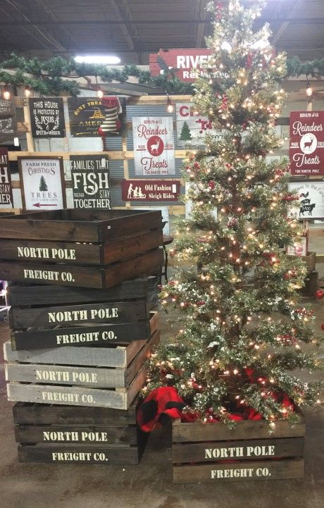 North Pole Freight Co Christmas Tree Crate Skirt Box Tree Stand Christmas Tree Crate Woodland Christmas Decor Christmas Trimmings Christmas Tree Decorations