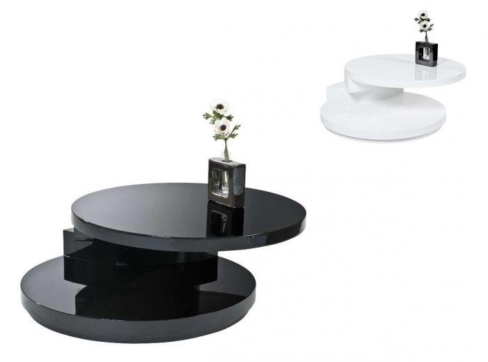 LA PAZ Couchtisch / Beistelltisch hochglanz weiß oder schwarz weiß