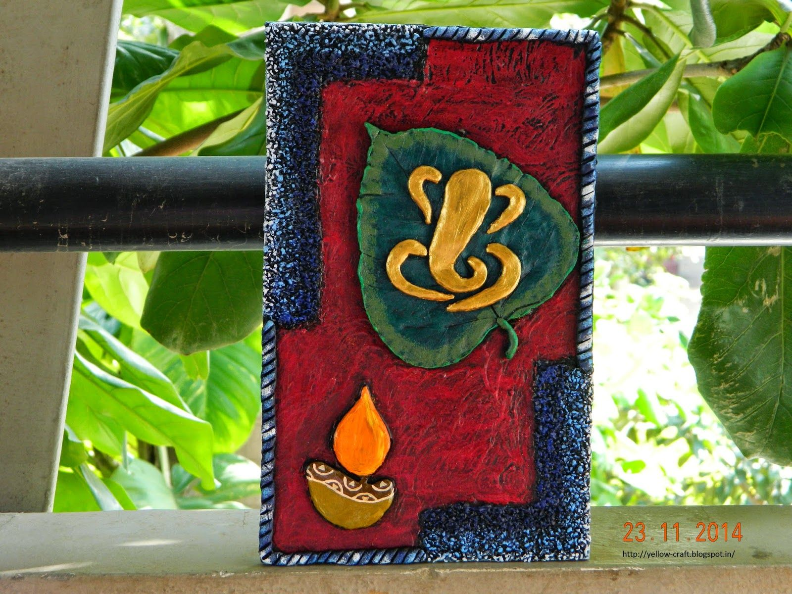 Ganesha on leaf clay mural tutorial yellow craft for Clay mural tutorial