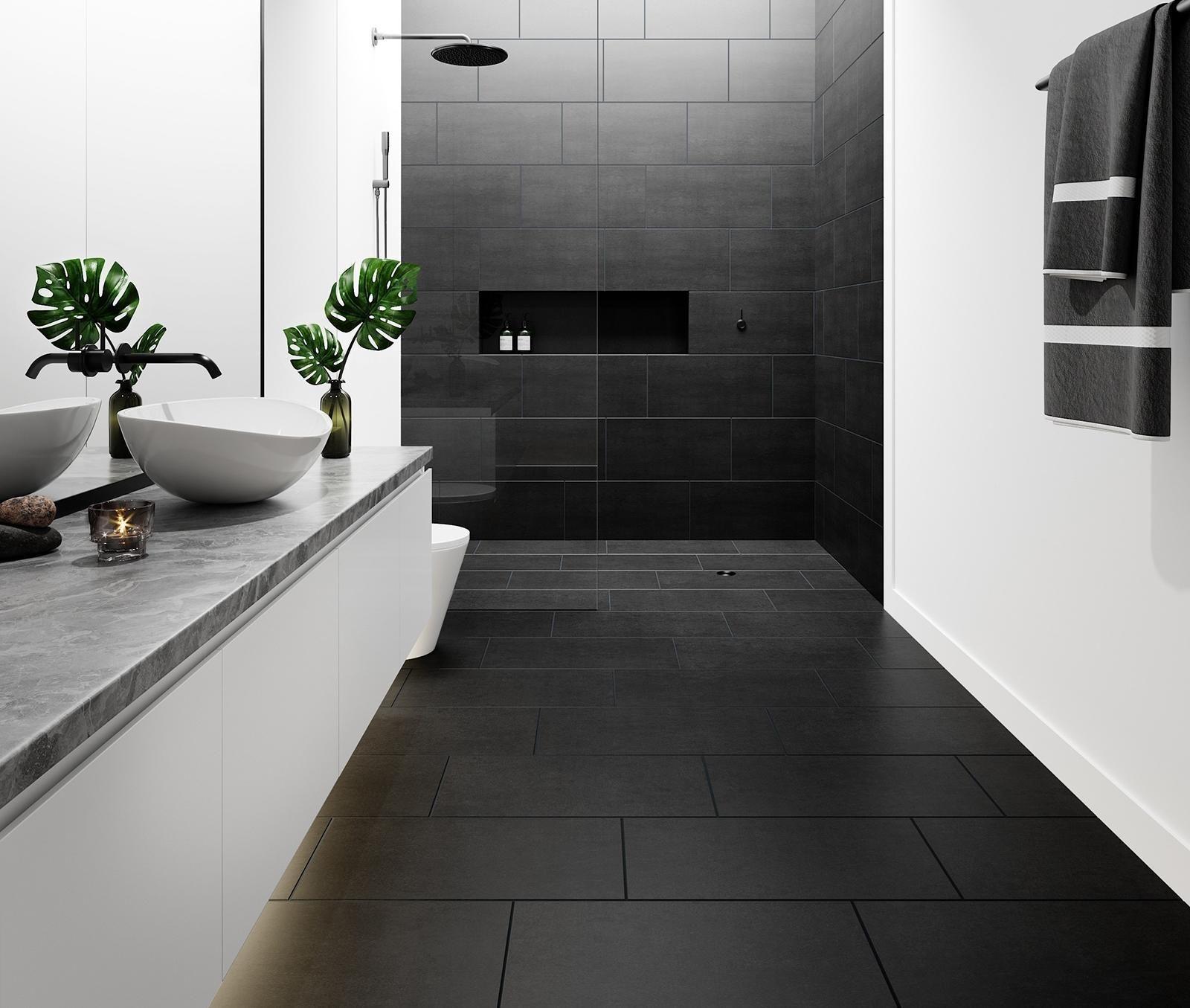 Lounge Black Matt Porcelain in 2020   Grey kitchen floor ...