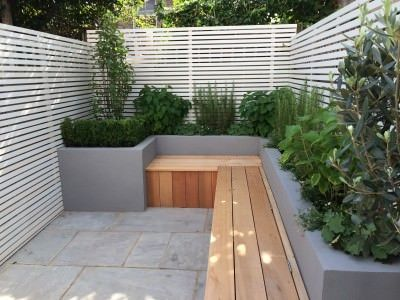 contemporary bench and planting small urban garden london