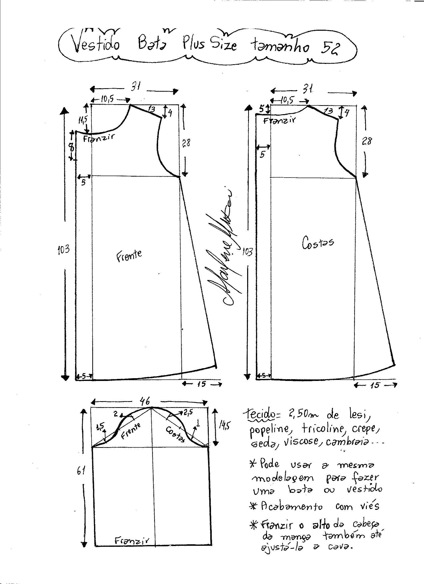 Vestido tipo bata plus size   patrones   Pinterest   Costura, Molde ...