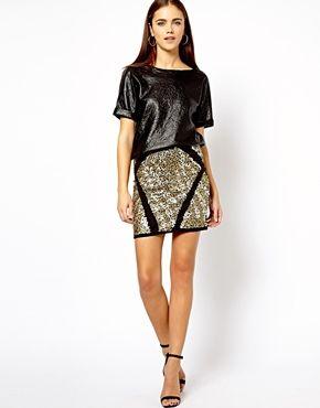River+Island+Sequin+Panel+Mini+Skirt