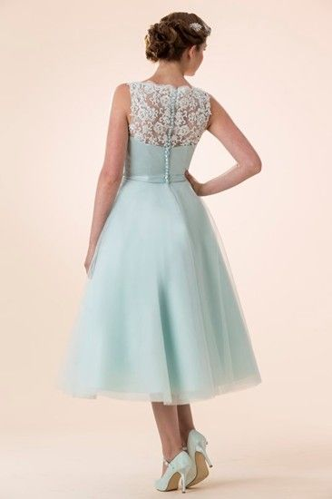 Vintage Petite Lace Detailling Tea Length Short Mint Blue Organza ...