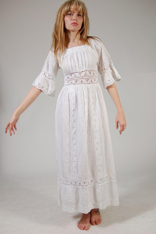 Vintage 70s MEXICAN Wedding Dress White CROCHET Pin Tuck Boho Maxi ...