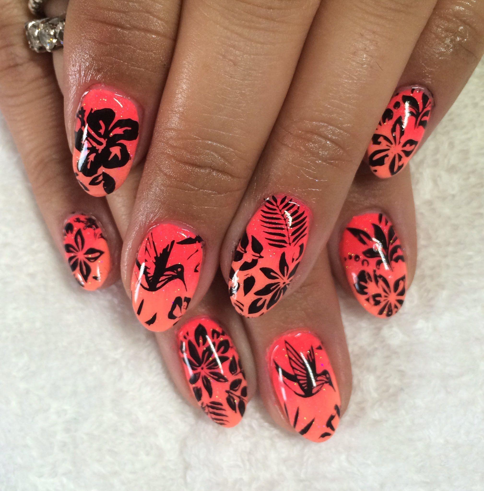 Tropical Holiday Nails! Gelaze, Lecente & MoYou nail stamping ...