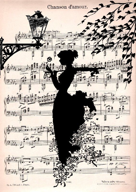 Music Retro 30 Print Poster Mixed Media Painting Wall Decor Illustration Old Sheet Music Silhouette Music Art