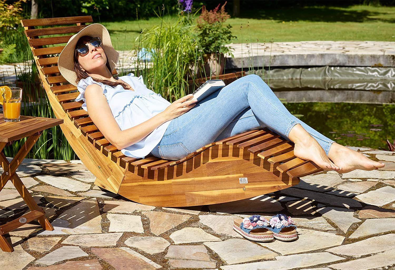 Deuba Schwungliege Fsc Zertifiziertes Akazienholz Ergonomisch Wippfunktion Gartenliege Sonnenliege Relaxliege Saunaliege Am Holzliege Gartenliege Sonnenliege