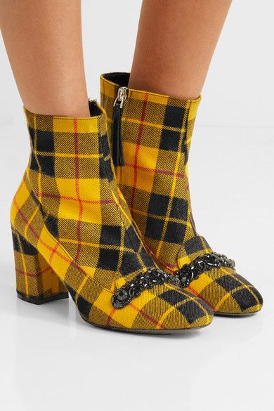 From China Low Shipping Fee Collections Sale Online No21 Embellished plaid pumps qbkgNt