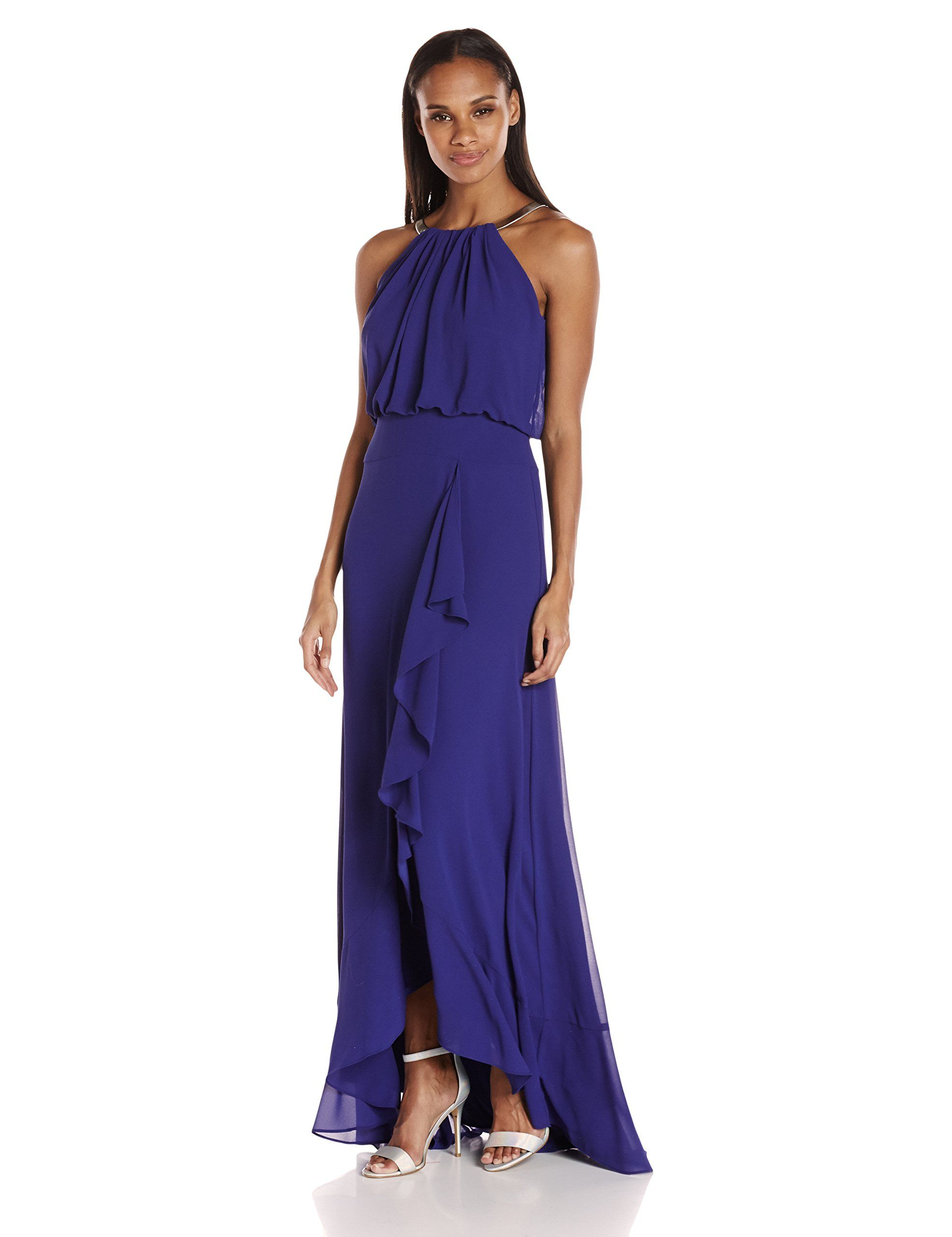 Eliza J Women\'s Halter Gown with Metal Necklace, Royal, 6 | Apparel ...