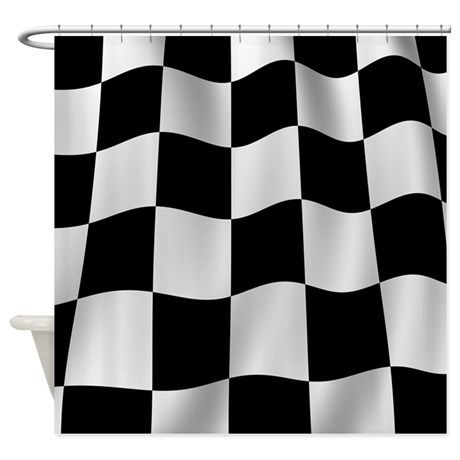 Black Racing Flag Checkerboard Shower Curtain By Chevroncity Cafepress In 2020 Checkered Fabric Shower Curtains Checkered Flag