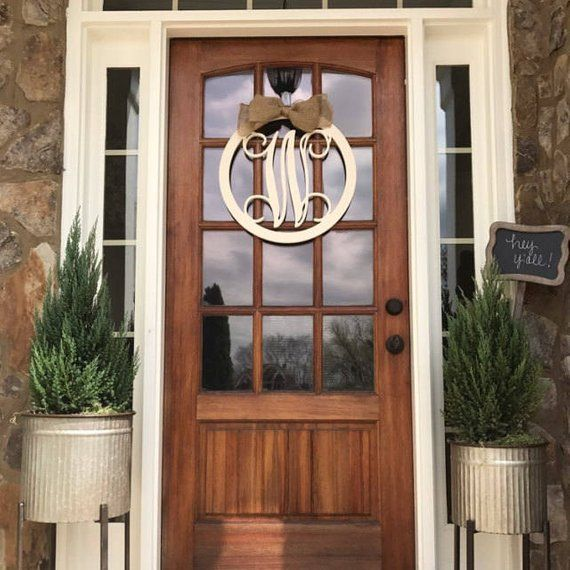 Monogram Door Hanger Wooden Monogram Letters With Border Circle The Border Will Be 1 5thick So Monogram Door Hanger Initial Door Hanger Monogram Door Wreath