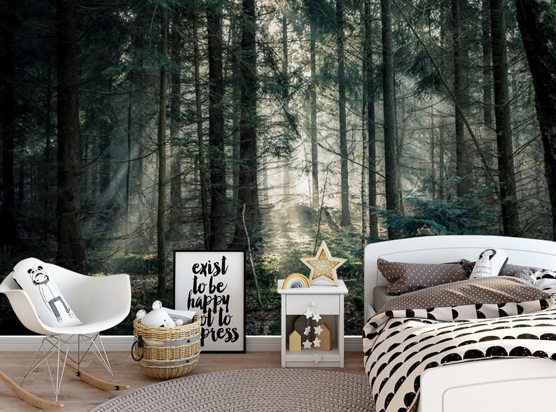 Sun Shine Wallpaper Woodland Forest Landscape Wallpaper Fog Etsy Landscape Wallpaper Forest Landscape Mural Wallpaper