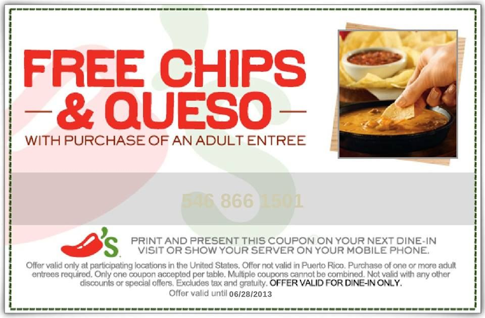 chilis free chips queso print a coupon for free chips and queso with any adult purchase june 28 2013