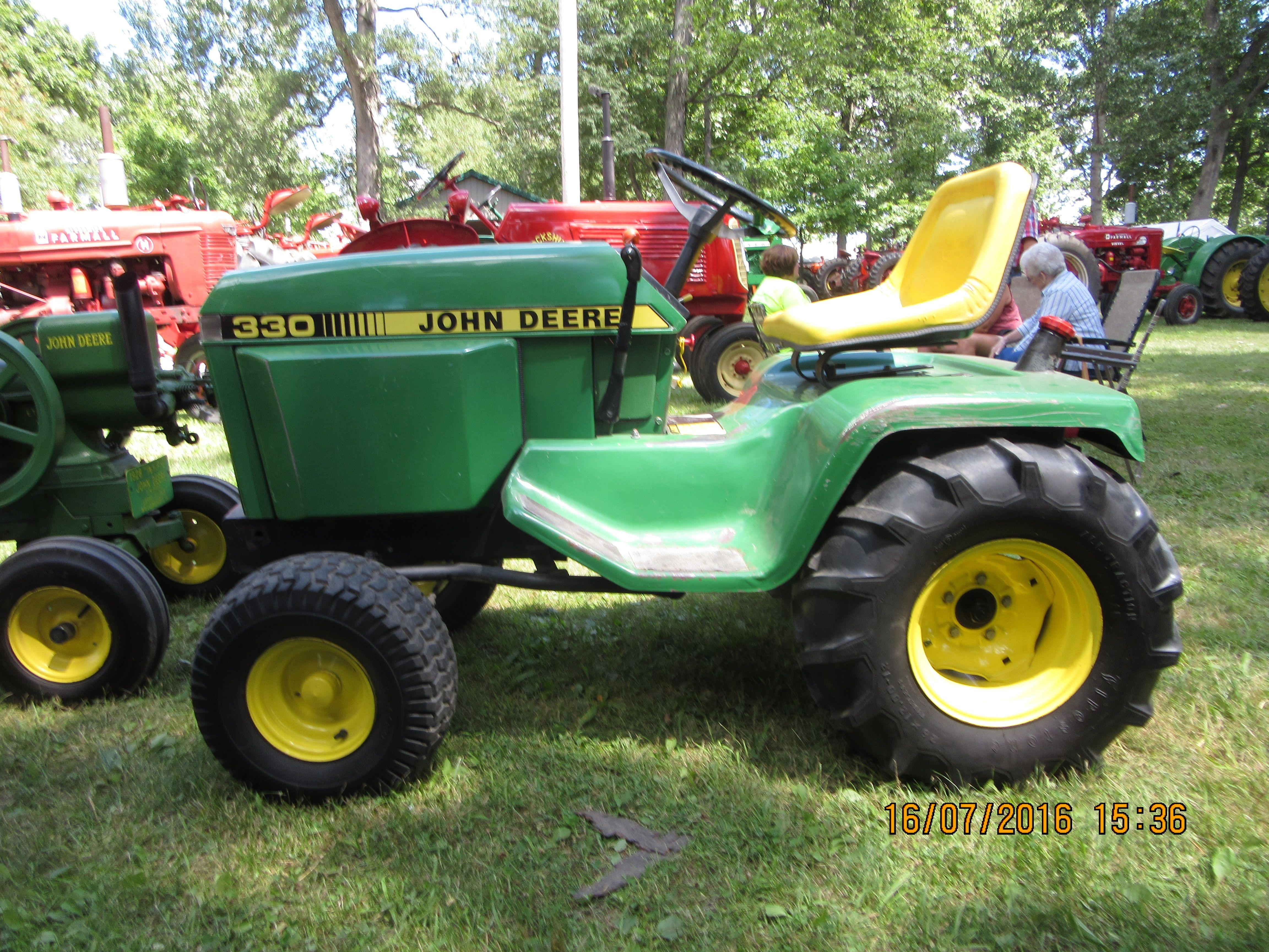 Leftside of John Deere 330 garden tractor