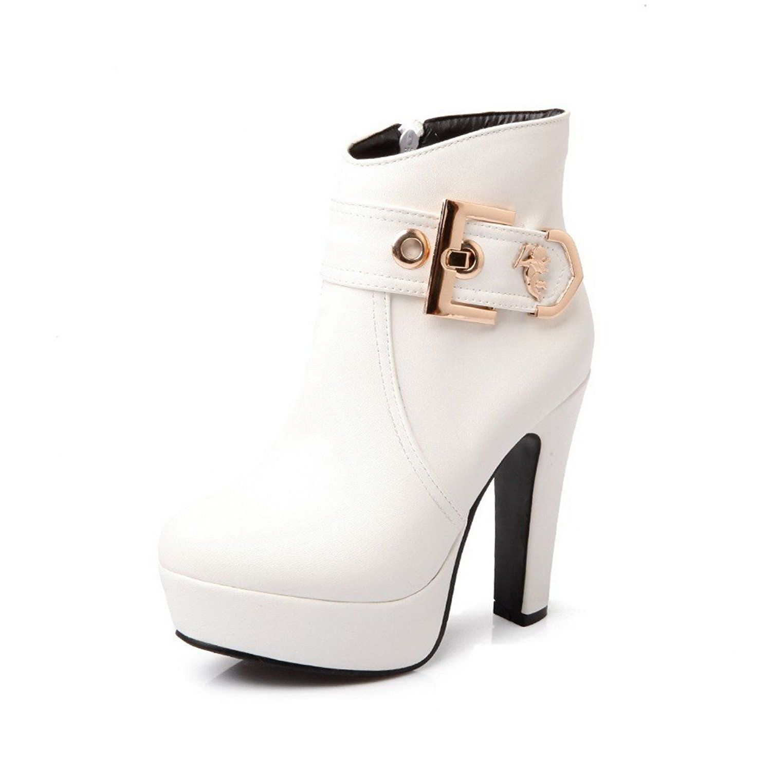 VogueZone009 Womens Closed Round Toe High Heel Soft Material PU Solid Boots with Metalornament