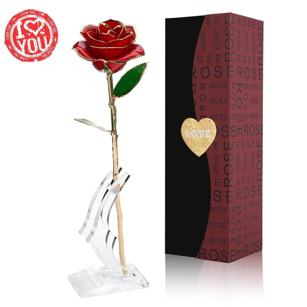 Birthday Gift Best Gift for Valentines Day for Her New Long Stem Dipped 24k Gold Foil Trim Rose Mothers Day Anniversary