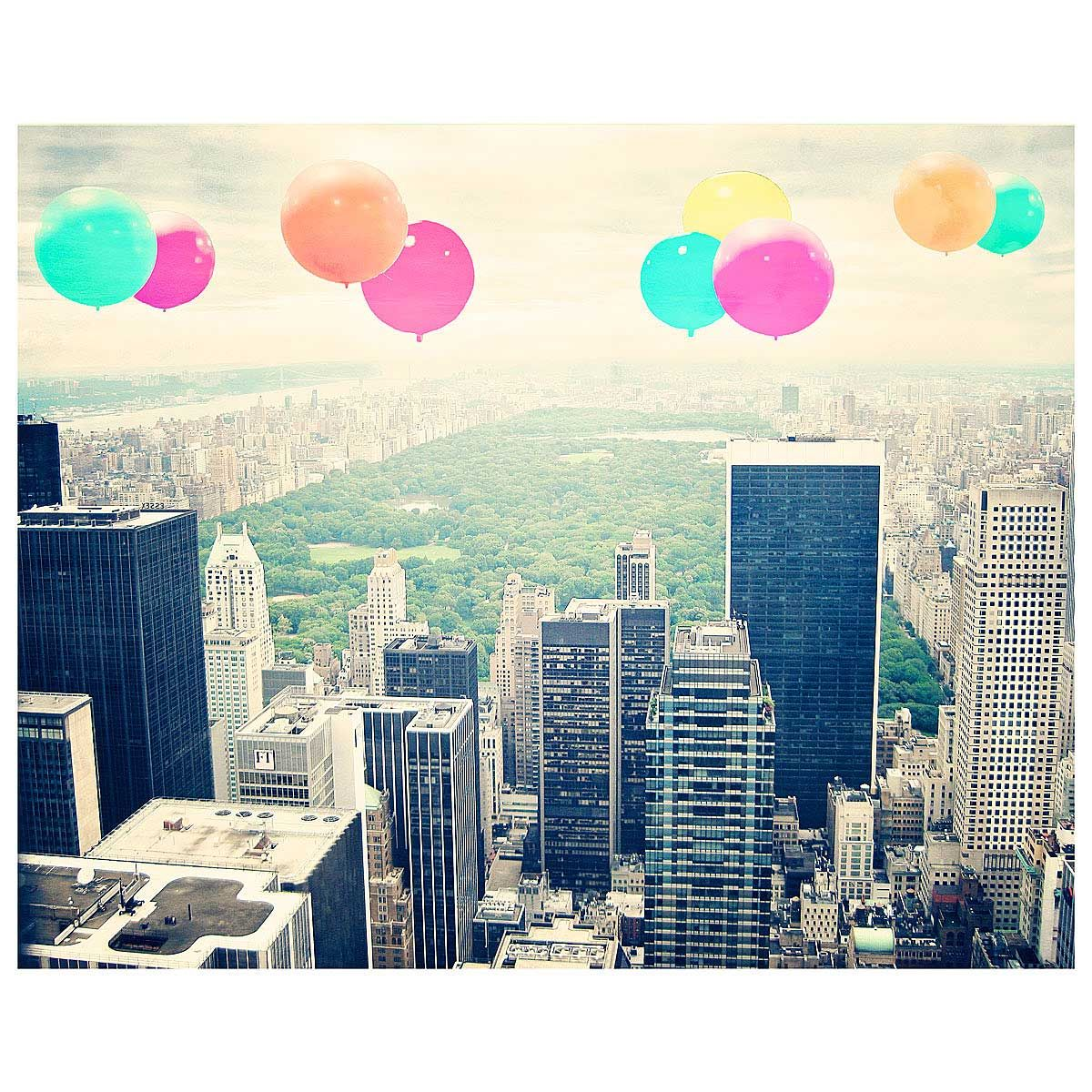 This vintage-inspired photographic art shows candy-colored balloons floating over New York City's Central Park.