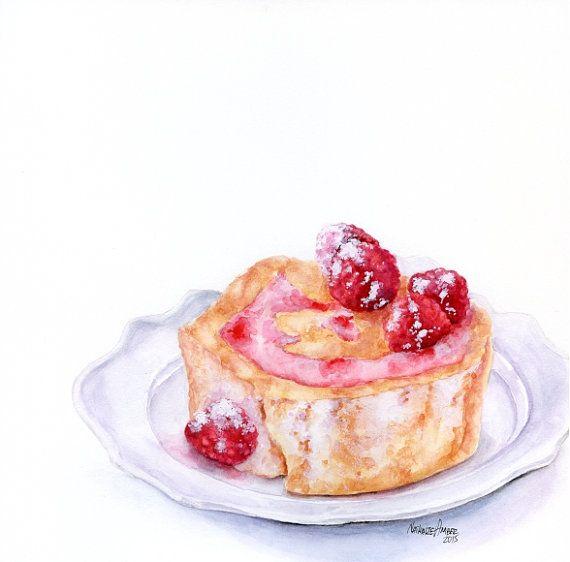"Raspberry Swiss Roll on plate - ORIGINAL Painting (Still Life, Kitchen Wall Art, Watercolour Food Illustration) 8x8"""