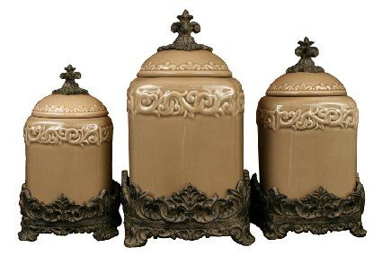Drake Design 3401 Large Canister (3-Piece Set), Taupe, 13.5, 12, 10 Inch - Kitchen Canisters