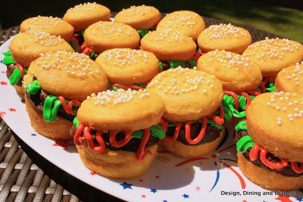 Hamburger cupcakes! Use yellow cake mix to make muffins, brownies for the burger patties and frosting for the condiments! Super easy and really fun! (fun cakes summer)