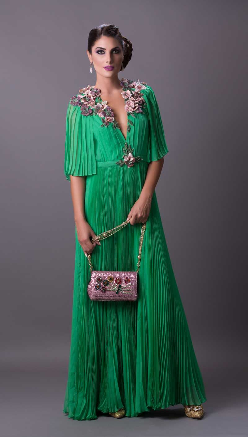 Gucci Silk Pleated Dress In Emerald This Green Is An Exquisite Piece With