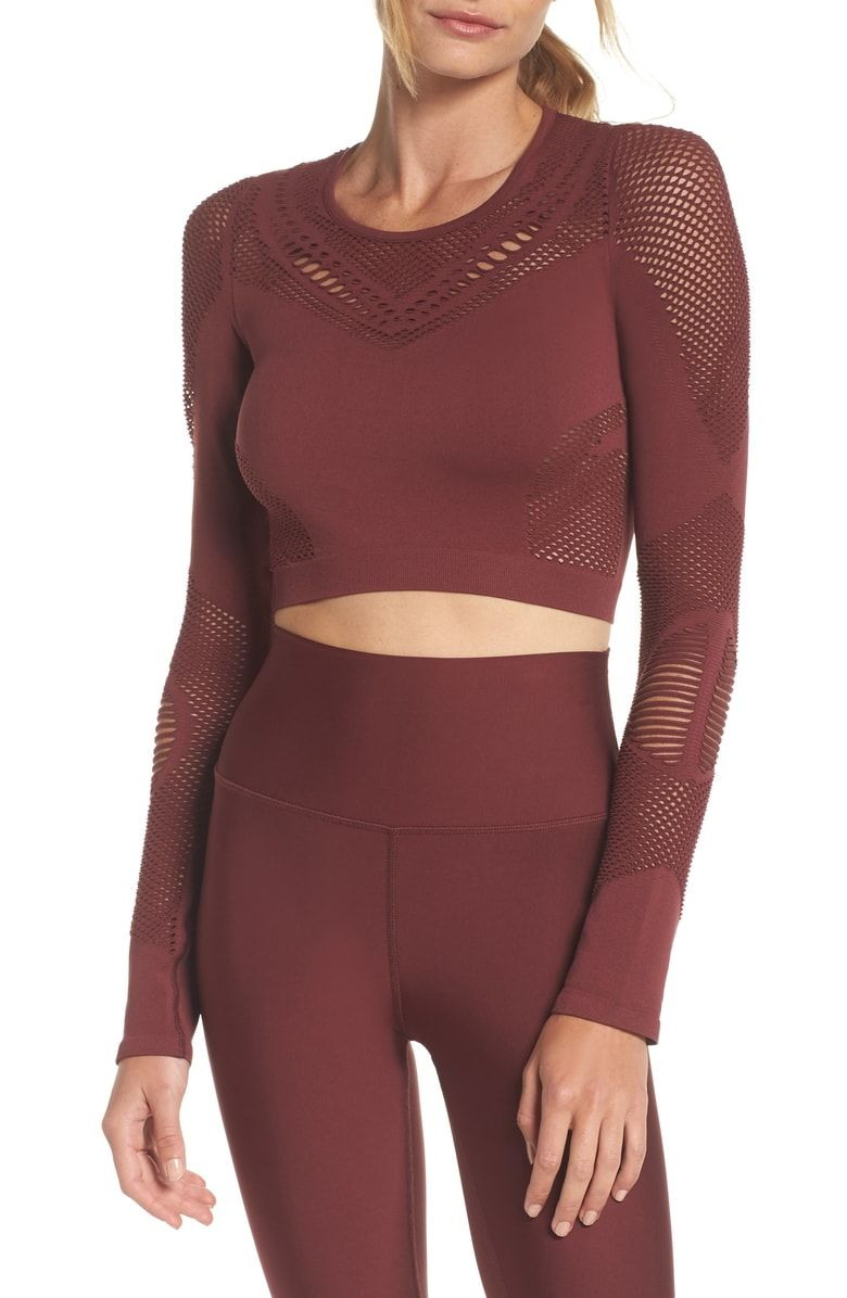Free shipping and returns on Alo Siren Long Sleeve Crop Top at