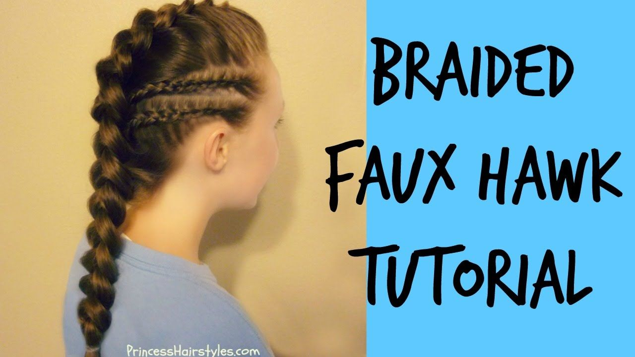 Braided faux hawk with cornrow accents tutorial warrior makeup