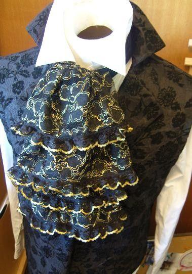 JABOT - Lace Ascot Cravat Tie - Black and Gold - Deluxe ...