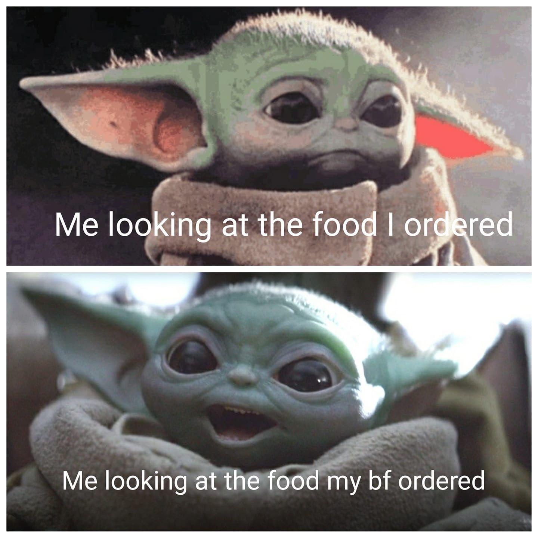 Baby Yoda Looking At Food Yoda Meme Yoda Wallpaper Star Wars Memes
