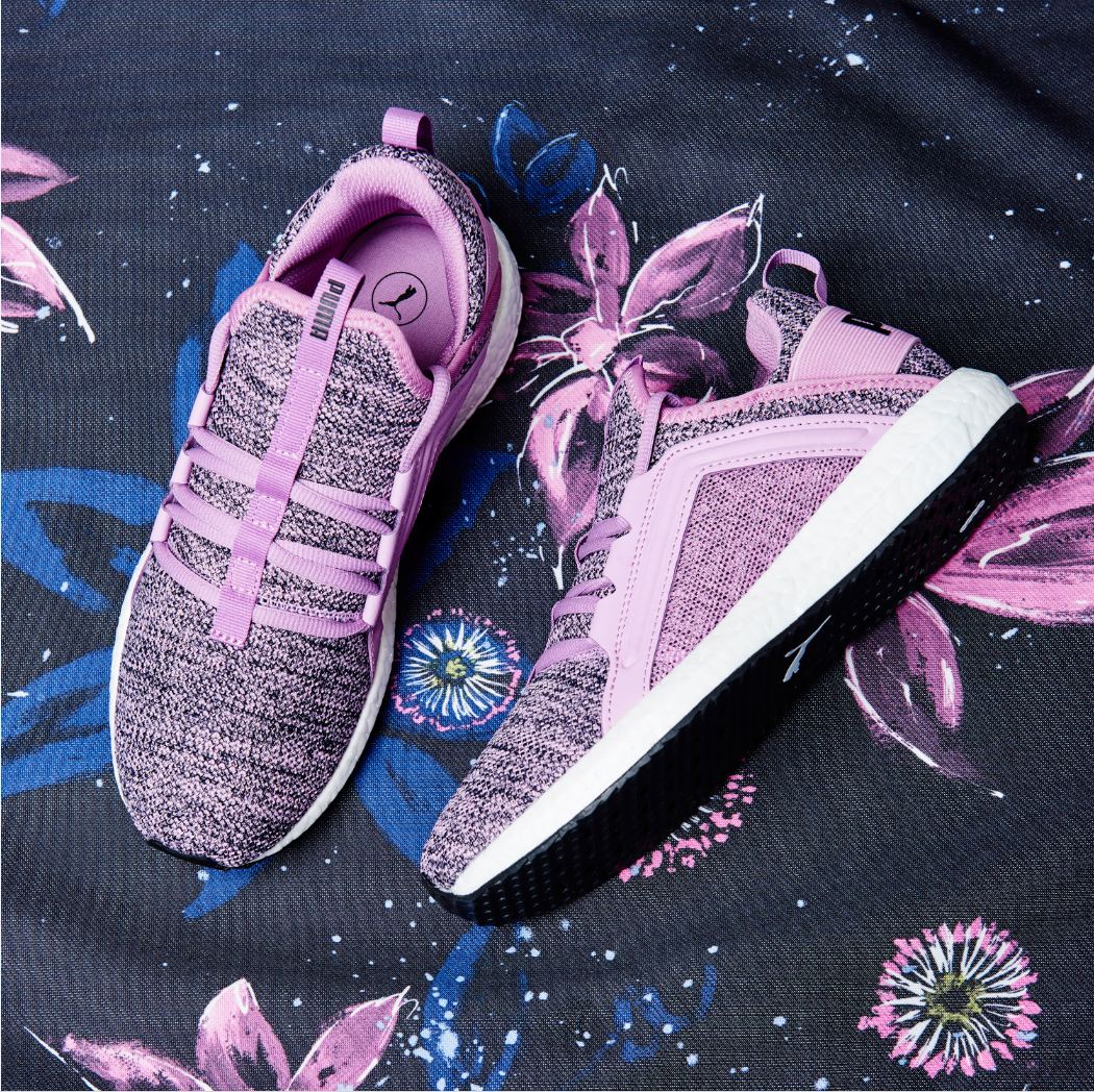 790718586697c8 Step out in style and feel pretty in purple with the Puma Mega NRGY Knit  trainers.